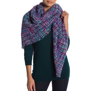 Collection XIIX Textured Plaid Square Fringe Scarf